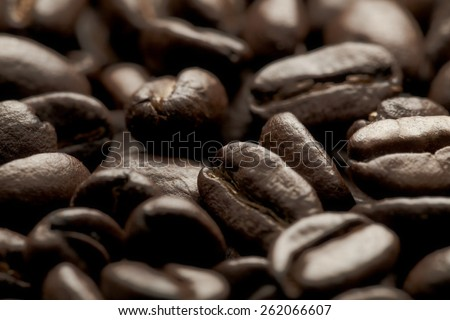 closeup roasted coffee beans. Can be used as a background for a website, wallpaper or shop. - stock photo