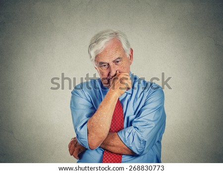 Closeup sad worried senior business man  - stock photo