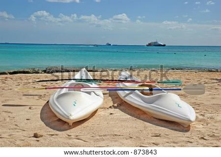 Closeup Sea kayaks on the beach - stock photo