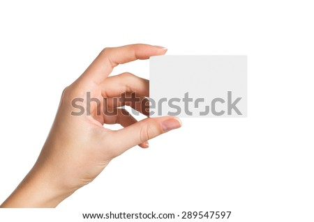 Closeup shot of a woman hand holding blank business card isolated on white background. Close up hand showing visit card.  - stock photo