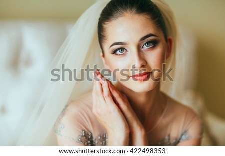 Closeup shot of an elegant, brunette bride in vintage white and silver dress. Amazing make Up. - stock photo