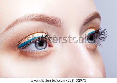 Closeup shot of woman eyes with day makeup - stock photo