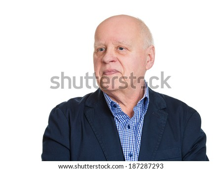 Closeup side head shot portrait, happy, confident, cheerful, smiling senior mature man, isolated white background. Positive human emotions, facial expressions, feelings, attitude - stock photo