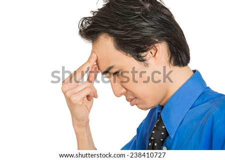 Closeup side profile portrait, head shot sad depressed, alone, disappointed, gloomy young man having dandruff resting his head on hand having suicidal thoughts isolated white background. Human emotion facial expression - stock photo