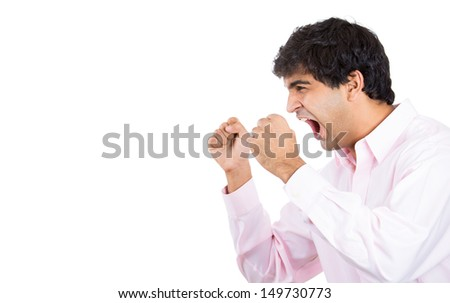 Closeup side profile portrait of angry man, worker, employee, businessman with arms raised, isolated on white background with copy space - stock photo