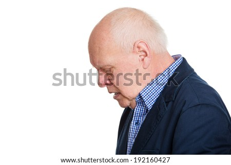Closeup side view headshot, old, depressed, gloomy looking man, guy, isolated white background. Human face expressions, emotions, feeling, life perception, reaction - stock photo