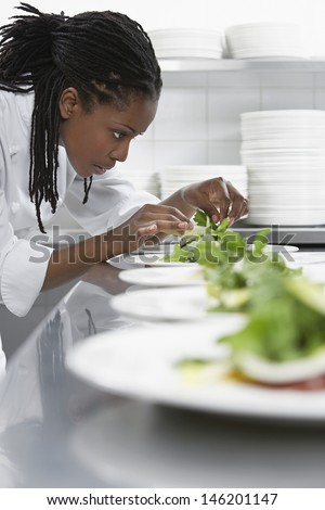 Closeup side view of a female chef preparing salad in kitchen - stock photo