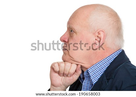 Closeup side view profile portrait, headshot senior mature man, old sad business guy, troubled, deep thought, isolated white background. Human emotion, facial expressions, life perception, depression  - stock photo