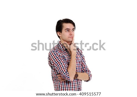 Closeup side view profile portrait of upset young man, worker, employee, business man hands in air, open mouth yelling isolated on white background - stock photo