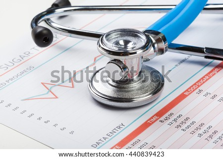closeup stethoscope on medical background - stock photo