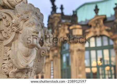 Closeup stone statue at Zwinger palace in Dresden, Germany  - stock photo