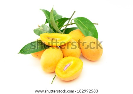 Closeup sweet Marian plum fruit isolate on white background(Mayongch id Maprang Marian Plum and Plum Mango,thailand) - stock photo