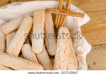 Closeup take of some sugar coated ladyfinger biscuits - stock photo