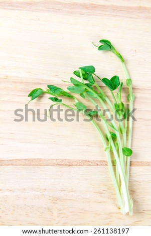 closeup the green pea sprout  on wooden background - stock photo