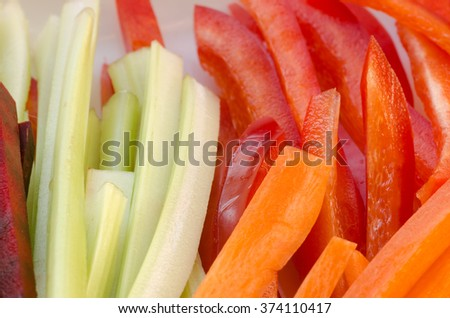 closeup to raw chopped vegetables - stock photo