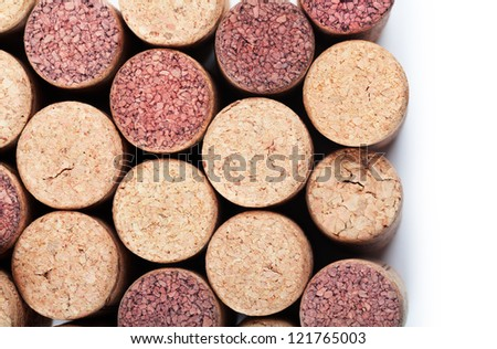 Closeup top view of wine corks - stock photo