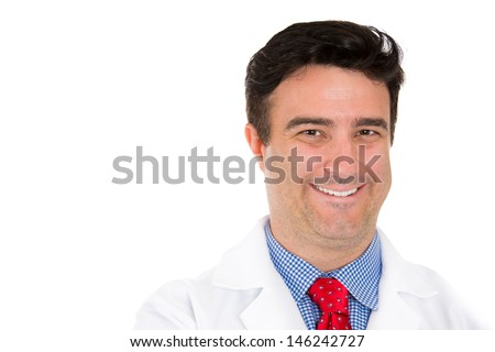 Closeup up portrait of smiling male healthcare professional or pharmacist or dentist or scientist or doctor or nurse wearing red tie, isolated on white background with copy space - stock photo