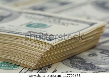closeup US dollars pack - stock photo