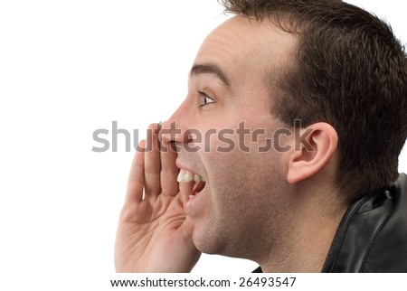 Closeup view of a mans head shouting something, shot with a profile view, isolated against a white background - stock photo