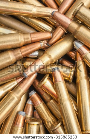 Closeup view of ammunition pile - stock photo