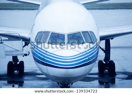 Closeup view of an aircraft - stock photo