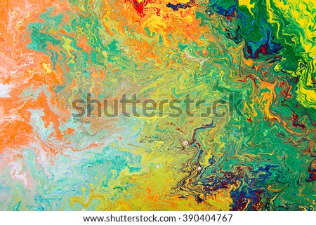 Closeup view of an original abstract oil painting on canvas. Grunge background, fragment of artwork, spot of paint, modern art, contemporary art. - stock photo