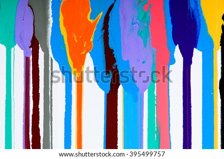 Closeup view of an original strips painting. Hand painted abstract grunge background. Multicolored bright texture with space for text or image. Fragment of artwork, modern art, contemporary art. Mixed - stock photo