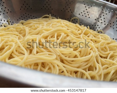 Closeup view of cooked spaghetti in colander - stock photo