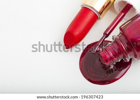Closeup view of cosmetic products for makeup - stock photo