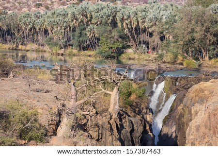 Closeup view of Epupa waterfalls in summer time, the border of Angola and Namibia - stock photo