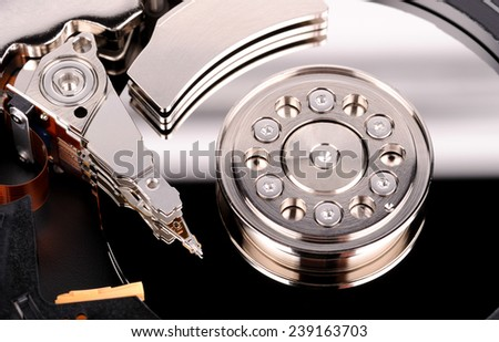 closeup view of hdd cylinder - stock photo
