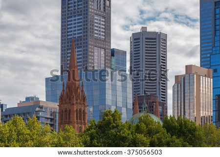 Closeup view of high rise office buildings and skyscrapers in Melbourne - stock photo