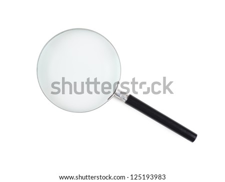 Closeup view of magnifying glass isolated over white background - stock photo
