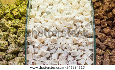 Closeup view of market with Traditional Dessert Turkish Delight - stock photo