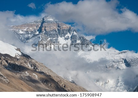 Closeup view of The north face of Mt. Everest, Tibet - stock photo
