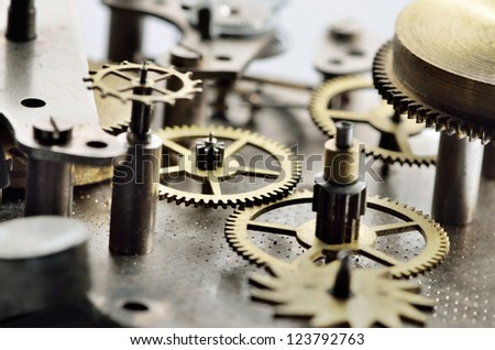 Closeup view of the old mechanism - stock photo