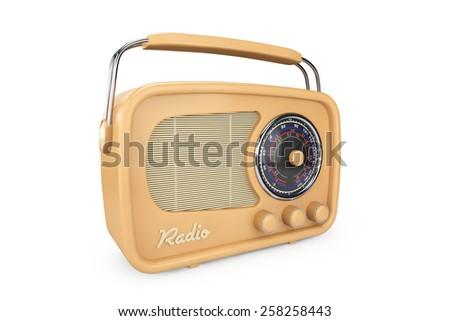 Closeup Vintage Radio on a white background - stock photo