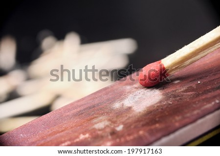 closeup vintage wooden flammable matches - stock photo