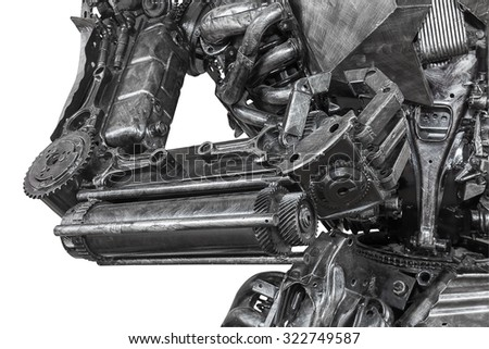 Closeup War machine sculpture made from scrap metal isolated on white background - stock photo