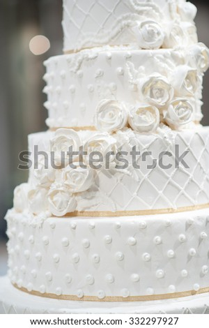 Closeup : white cake for Wedding party , Multi layer cake - stock photo