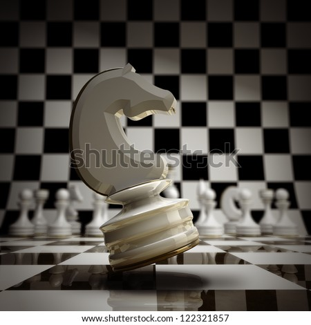 closeup white chess horse background 3d illustration. high resolution - stock photo