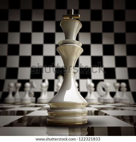 closeup white chess king background 3d illustration. high resolution - stock photo