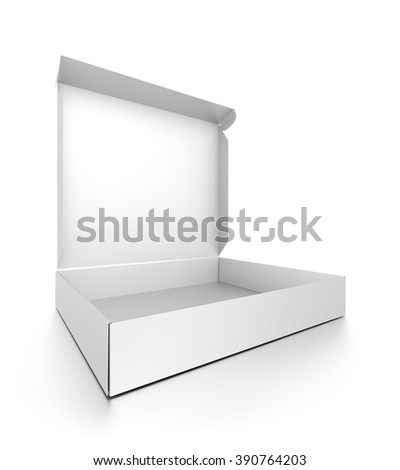 Closeup white open blank pizza box isolated on white background. - stock photo