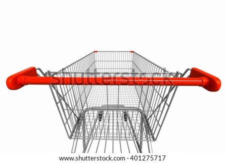 Closeup wide angle image of shopping cart rear view on white isolated background. 3d render - stock photo