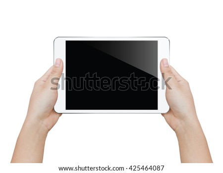 closeup woman hand holding white tablet isolated clipping patch inside image data - stock photo