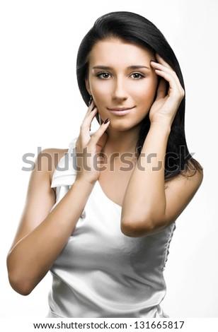 Closeup woman portrait - stock photo