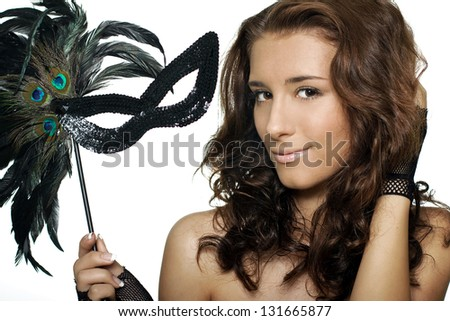Closeup woman portrait with mask - stock photo