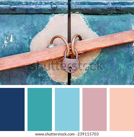 Closeup wooden door with lock,  color palette swatches - stock photo