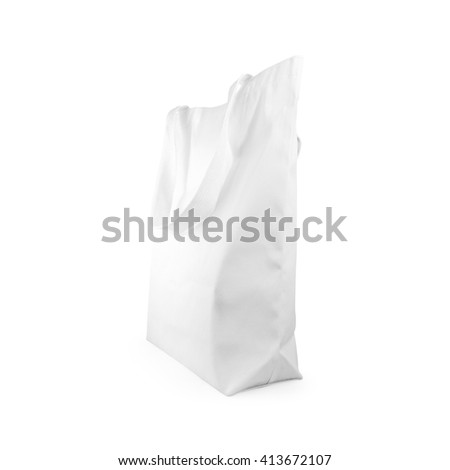 Cloth bag. Fabric bag. Canvas bag. Eco bag. Reusable bag. Cotton bag. Handbag isolated. Clipping path bag. Save world bag. Global warming reuse bag. Sackcloth isolated. Burlap bag isolated. White bag. - stock photo