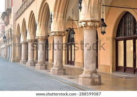 Cloth Hall (Sukiennice) in Krakow. Main market square in Krakow (Poland), listed by UNESCO organisation. - stock photo